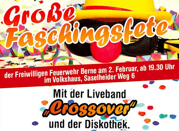 Große Faschingsfete der FF Berne am 02.02.2019, ab 19:30 Uhr im Volkshaus Berne, Saselheider Weg 6 / https://www.ff-berne.de/einsatzabteilung/aktuelles/