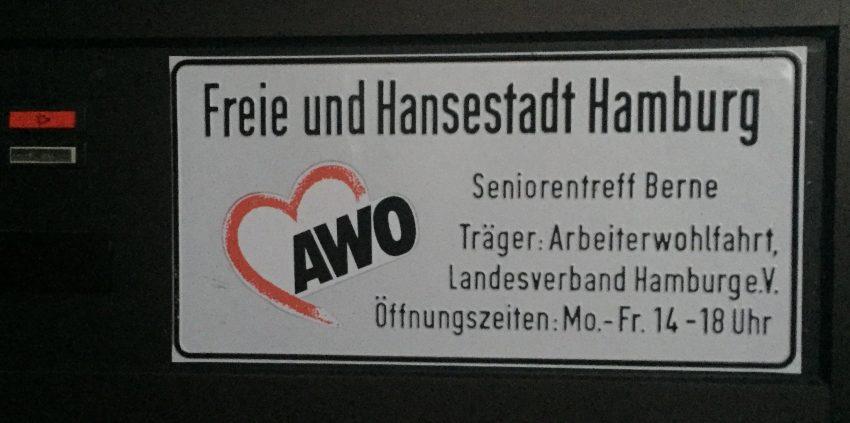 Schild des alten Seniorentreff Berne der AWO (2018)