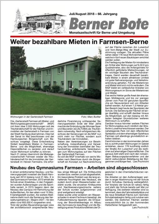 Berner Bote, Juli/August 2018, Titelbild