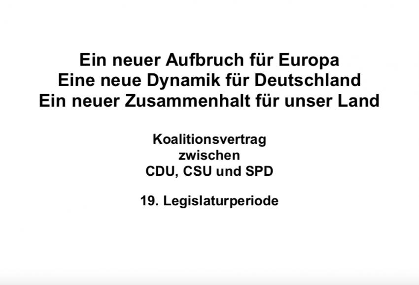 Große Koalition, Titel Koalitionsvertrag, 19. Legislaturperiode