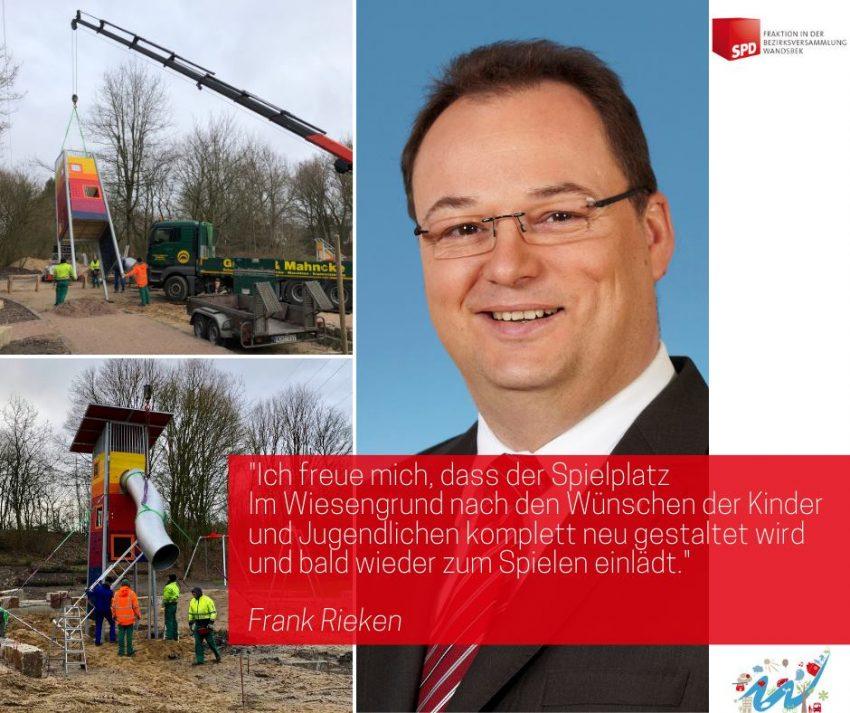 Frank Rieken, SPD-Bezirksfraktion Wandsbek, zum Spielplatz Wiesengrund in Rahlstedt