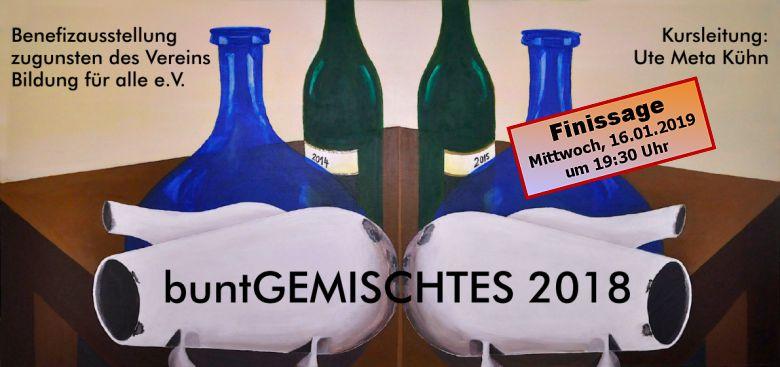 """Teilnehmer-Benefizausstellung """"buntGEMISCHTES 2018"""" endet am Mittwoch, 16. Januar 2019, um 19.30 Uhr mit einer Finissage"""