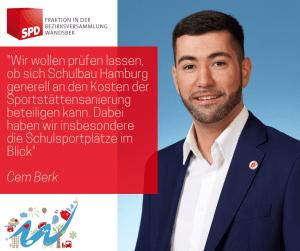 Cem Berk, SPD-Fraktion in der Bezirksversammlung Wandsbek zur Zusammenarbeit bei der Sanierung von Sportstätten. Foto: SPD-Fraktion Wandsbek, 02/2019