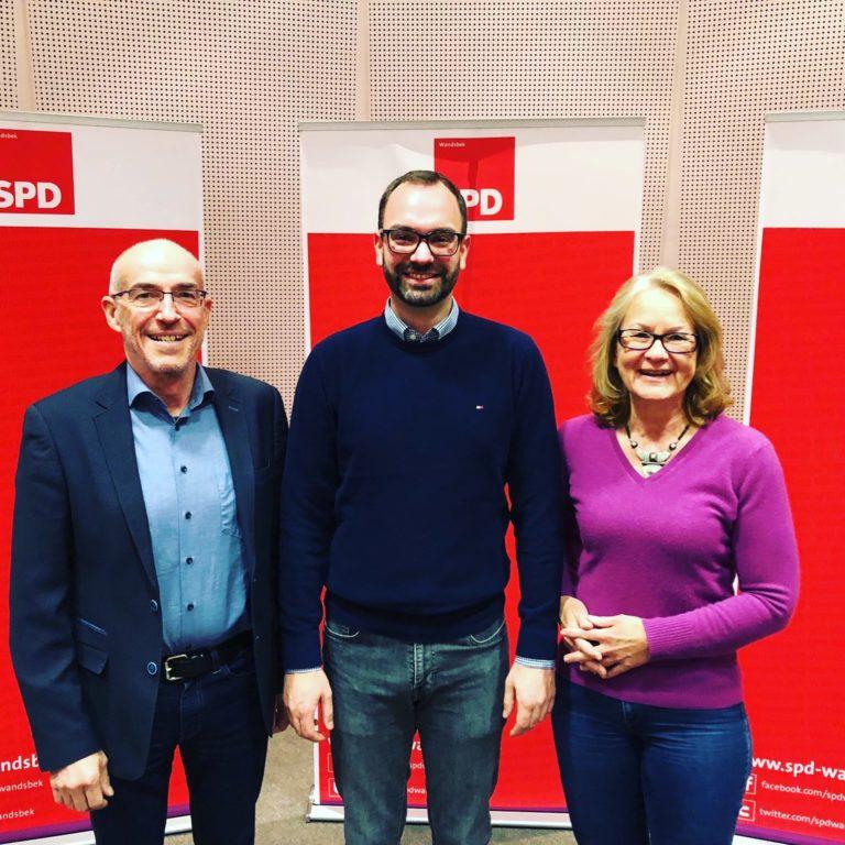 SPD-Kandidat/innen im Wahlkreis 6 (Hummelsbüttel, Poppenbüttel). v.l.n.r.: Jörg Wellner, Xavier Wasner, Christiane Rösch. Nicht auf dem Bild: Ulrike Hansen, Ruth Winterfeld und Cem Köylüce.