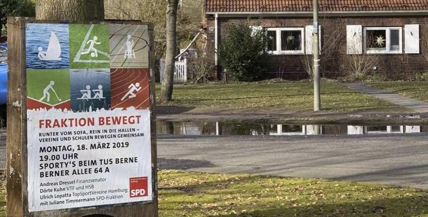 "SPD-Bürgerschaftsfraktion in Farmsen-Berne, ""Fraktion bewegt"" am 18.03.2019 beim tus Berne. Foto: Marc Buttler"