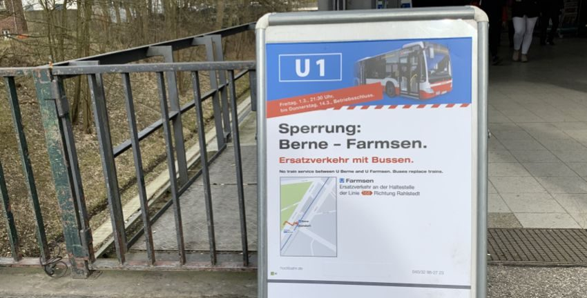 Hamburger Hochbahn, Sperrung der Walddörferbahn (U1) im März 2019. Hamburg-Farmsen-Berne. Foto: Marc Buttler