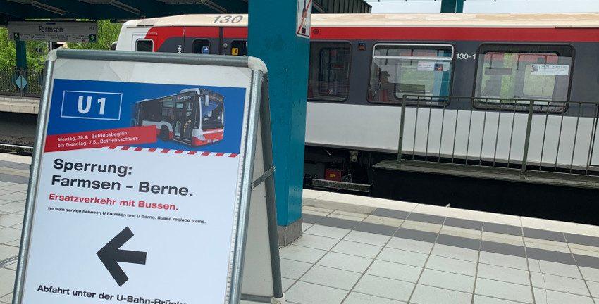 Sperrung der Walddörferbahn (U1) zwischen Farmsen und Berne im April/Mai 2019