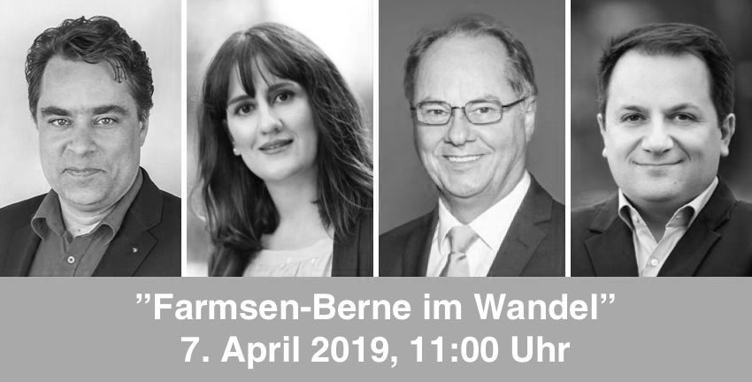 Farmsen-Berne im Wandel am 07.04.2019; Marc Buttler, Maryam Blumenthal, Ralf Niemeyer, Daniel Valijani; Fotos: SPD/Elfriede Liebenow/CDU/FDP