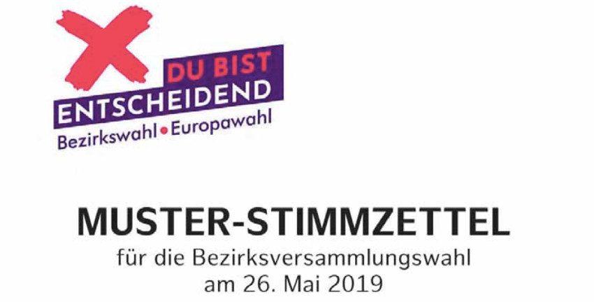 Muster-Stimmzettel zur Bezirksversammlungswahl am 26. Mai 2019