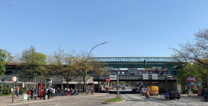 U-Bahnhof Farmsen in Hamburg-Farmsen-Berne; Foto: Marc Buttler, April 2019