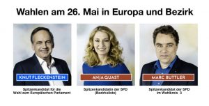Spitzenkandidat/innen der SPD für die Wahlen am 26.05.2019 in Hamburg, Wandsbek, Farmsen-Berne und Bramfeld-Nord. Knut Fleckenstein, Anja Quast und Marc Buttler: Foto: SPD/Berner Bote