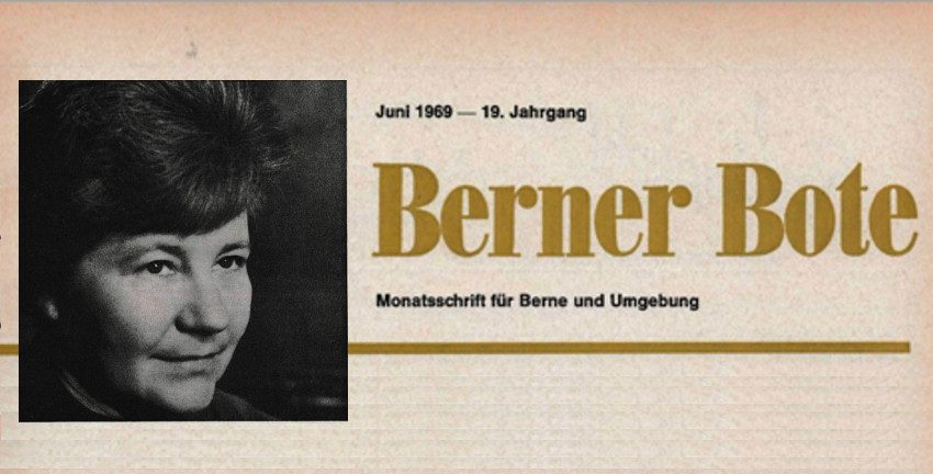 Berner Bote Juni 1969, Titelzeile mit Foto von Dr. Ilse Eisner, MdB (Archiv Berner Bote)