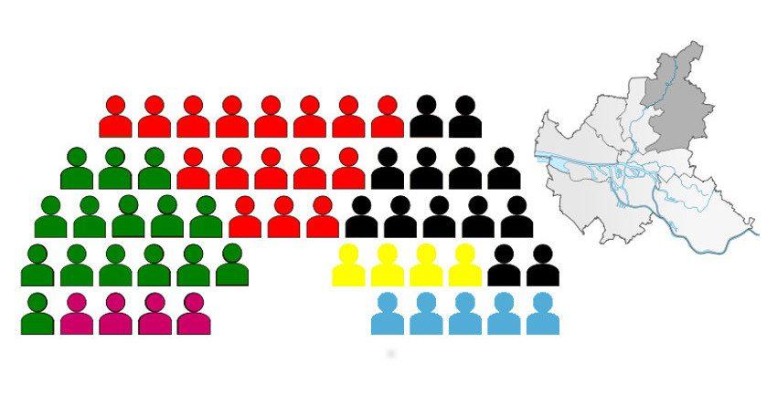 Zusammensetzung der Bezirksversammlung Wandsbek nach den Wahlen am 26.05.2019; Grafik: Marc Buttler nach einer Vorlage von Michael Bueker, CC BY-SA 3.0