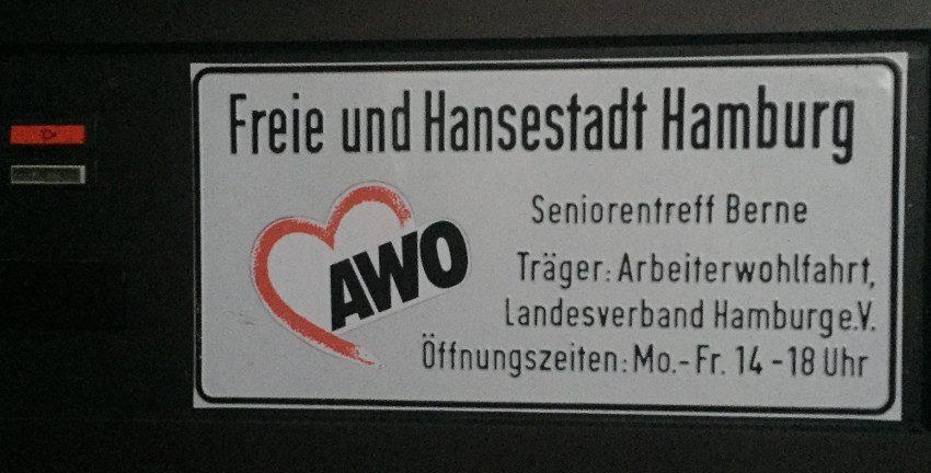 Seniorentreff Berne altes Schild an der Berner Allee (2018); Foto: Marc Buttler