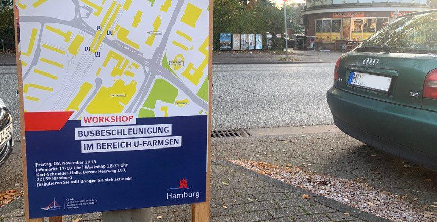 Plakat zur Umgestaltung des Bahnhofes Farmsen, Veranstaltung am 08.11.2019