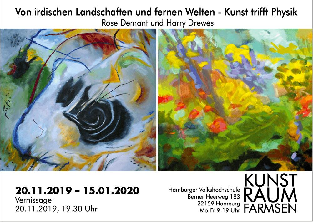 Von irdischen Landschaften und fernen Welten - Kunst trifft Physik; von Rose Demant und Harry Drewes, ab 20.11.2019 im Kunstraum Farmsen.