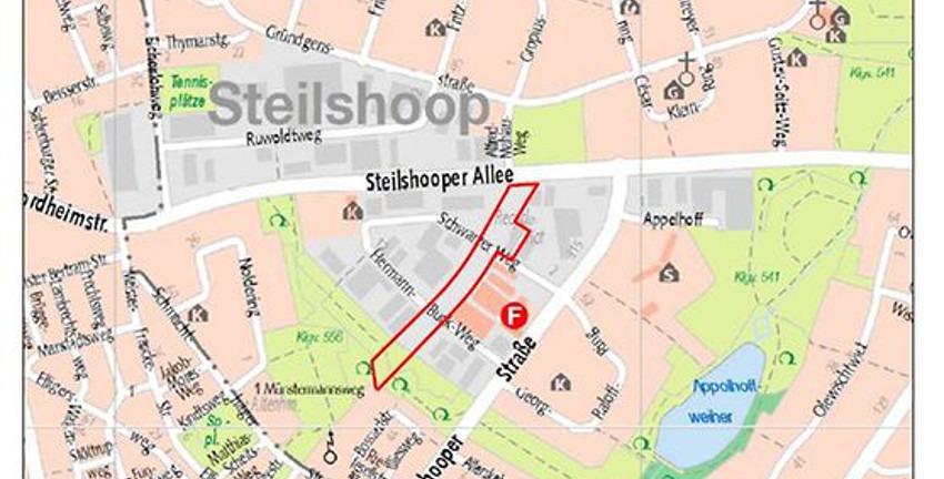 Änderung des Bebauungsplans Steilshoop 3, Bezirksamt Wandsbek 2020-05, Kartengrundlage: Digitale Stadtkarte 1:20.000 (DISK20), Freie und Hansestadt Hamburg, LGV