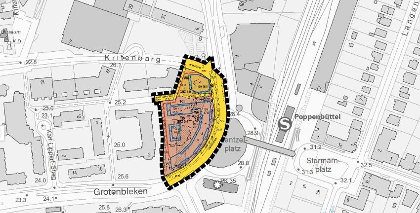 Bebauungsplan Poppenbüttel 44 – Wentzelplatz; (c) Freie und Hansestadt Hamburg
