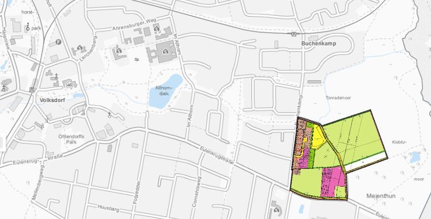 Bebauungsplan Volksdorf 46 - Buchenkamp/Eulenkrugstraße., Übersicht Plangebiet; Quelle/(c) FHH, bauleitplanung.hamburg.de