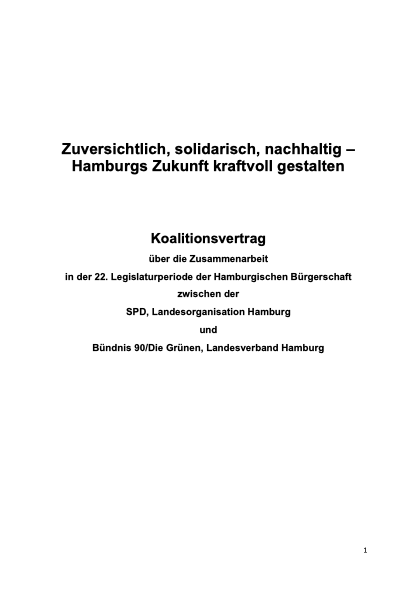 Koalitionsvertrag zwischen SPD und Grünen für Hamburg (2020-2025)