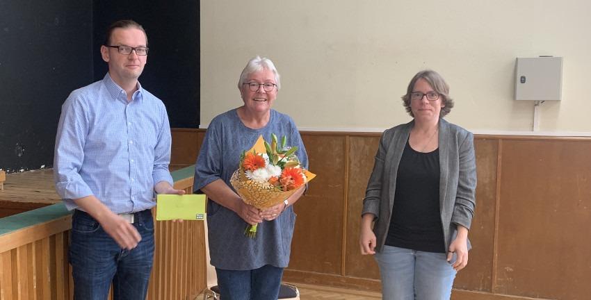 Verabschiedung der bisherigen Distriktsvorsitzenden Monika Hauto am 12.09.2020; Lars Pochnicht, Monika Hauto, Patricia Hauto (v.l.n.r); Foto: Marc Buttler