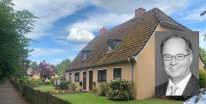 Häuser auf der Dreiecksfläche der Gartenstadtsiedlung in Berne, Mai 2020; kleines Bild: Ralf Niemeyer, Foto: (c) CDU