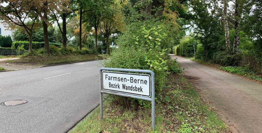 Farmsen-Berne, Ortsschild (Bild: MB, 2019)