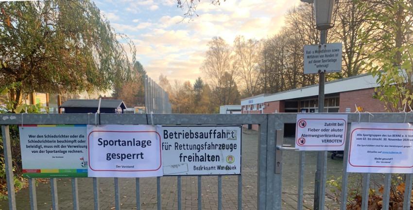 Sportanlage gesperrt (Foto: Marc Buttler, 11/2020)