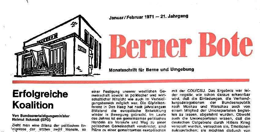 Titel des Berner Boten, Januar/Februar 1971